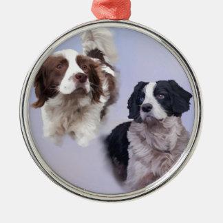 1 PRINT A4 Two dogs blue 19 x 13.jpg Metal Ornament