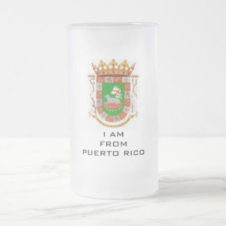 # 1 Puerto Rico Teacup 16 Oz Frosted Glass Beer Mug