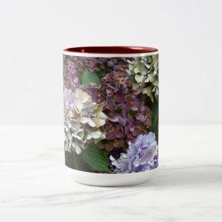 1 Purple Lavender Blue Hydrangeas Two-Tone Coffee Mug