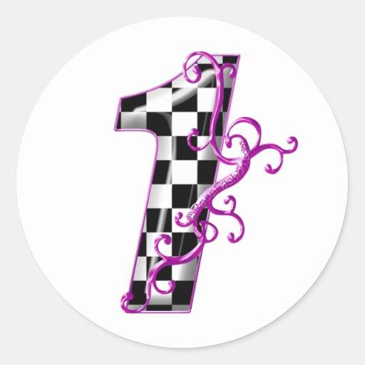 1 purple race number classic round sticker
