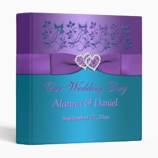 "1"" Purple, Teal Floral, Hearts Wedding BINDER"