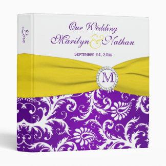 1 Purple Yellow White Damask Wedding Binder