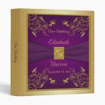 """1"""" púrpura y carpeta floral del boda del oro"""