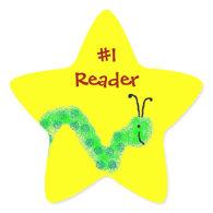 #1 Reader Bookworm Star Stickers