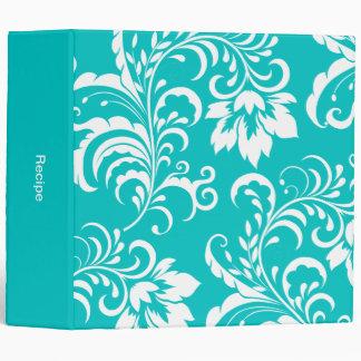 1 Recipe Teal Blue White Damask Floral 3 Ring Binder