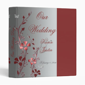 """1"""" Red and Silver Floral Wedding Binder"""