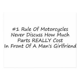 1 Rule Of Motorcycles Never Discuss How Much Parts Postcard