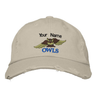 1 SAMPLE OWLS embroidered monogram hat