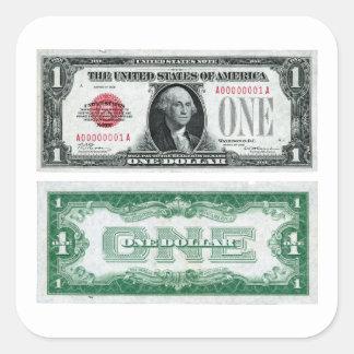 $1 series de la moneda de curso legal del billete pegatina cuadrada