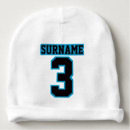 1 Side Beanie WHITE BLACK BLUE Football Jersey