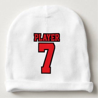 1 Side Beanie WHITE RED BLACK Football Jersey