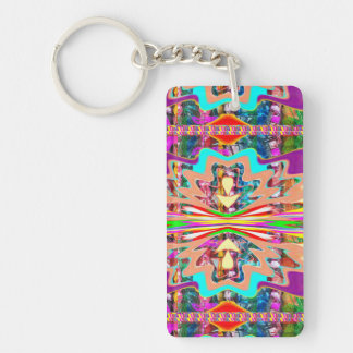 1 side Printed DIY easy add or replace photo image Double-Sided Rectangular Acrylic Keychain