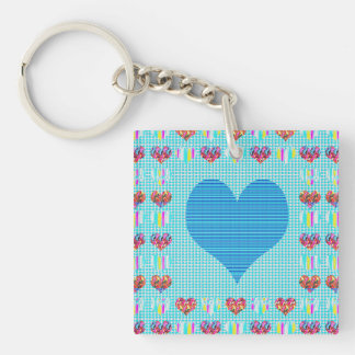 1 side Printed DIY easy add or replace photo image Single-Sided Square Acrylic Keychain