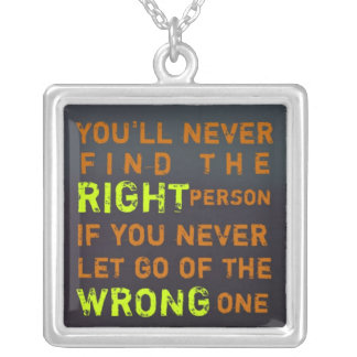 1 Side / Right & Wrong ~  Square Necklace