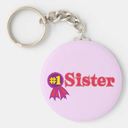 Basic Button Keychain with #1 Sister Award design