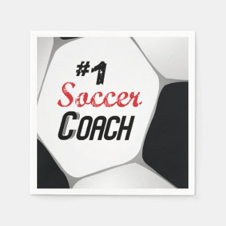 #1 Soccer Coach Large Ball Paper Napkin