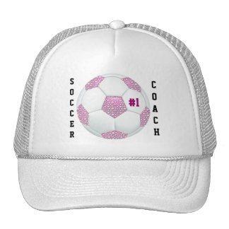 #1 Soccer Coach White Pearls on Pink Soccer Ball Trucker Hat