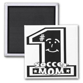 #1 Soccer Mom 2 Inch Square Magnet