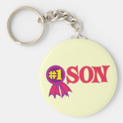 Basic Button Keychain with #1 Son Award design
