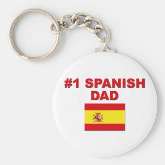 #1 Spanish Dad Basic Round Button Keychain