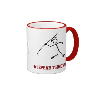 #1 Spear Thrower No 1 Javelin Red Stick Woman Ringer Coffee Mug