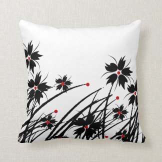 1 Square Pillow Floral Red Black White 2 SET