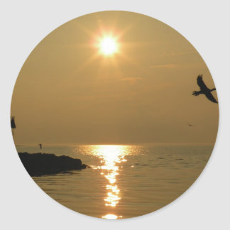 #1 Sunset Menemsha Martha's Vineyard Classic Round Sticker