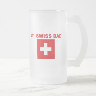 #1 Swiss Dad Frosted Glass Beer Mug