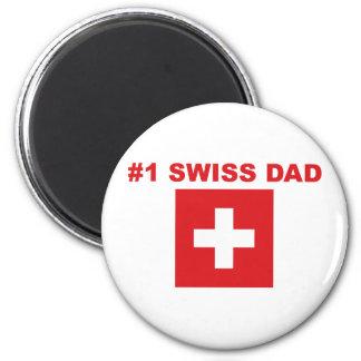 #1 Swiss Dad 2 Inch Round Magnet