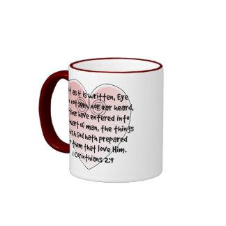 1 taza del verso de la biblia del corazón del rosa