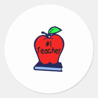 #1 Teacher (Apple/Book) Classic Round Sticker