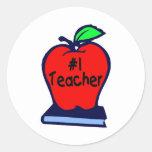 #1 Teacher (Apple/Books) Round Sticker