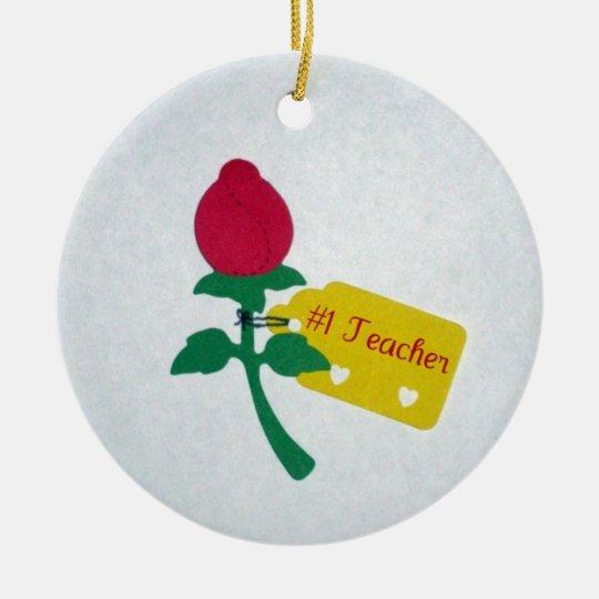 #1 Teacher Ceramic Ornament