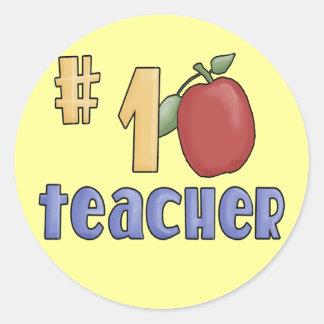 #1 Teacher Classic Round Sticker