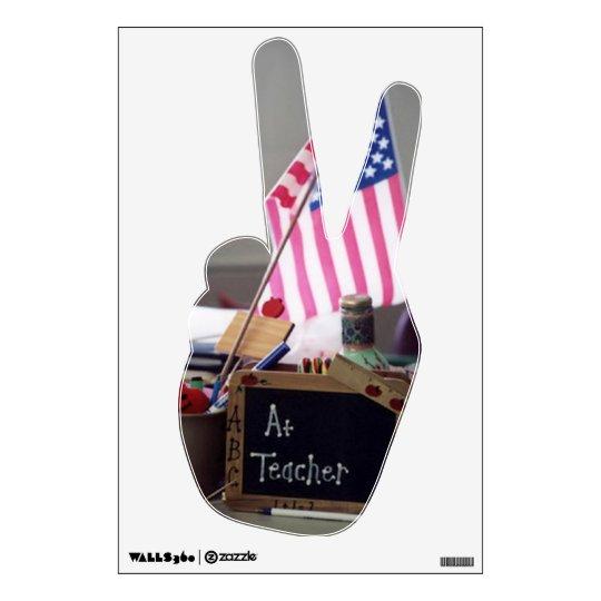 #1 Teacher Hand Peace Wall Decal