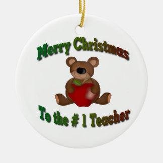 # 1 Teacher Merry Christmas Ceramic Ornament