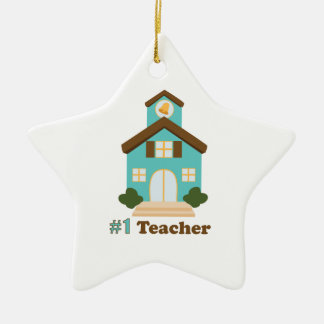 #1 Teacher Ceramic Star Ornament