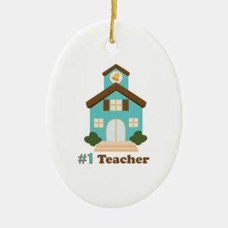 #1 Teacher Ceramic Oval Ornament