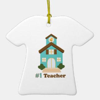 #1 Teacher Ceramic T-Shirt Ornament