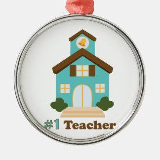 #1 Teacher Silver-Colored Round Ornament