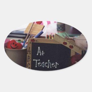 #1 Teacher Oval Sticker