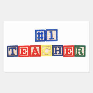 #1 Teacher Rectangle Sticker