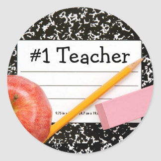 #1 Teacher School Theme Classic Round Sticker
