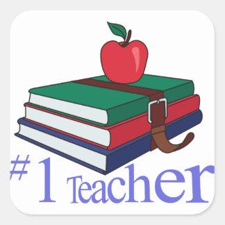 #1 Teacher Square Sticker