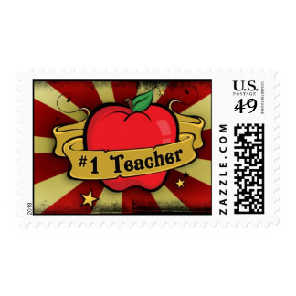 #1 Teacher Tattoo Inspired Urban Postage Stamp