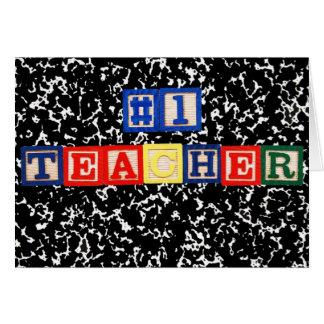 #1 Teacher Wooden Blocks Card