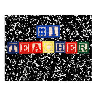 #1 Teacher Wooden Blocks Postcard