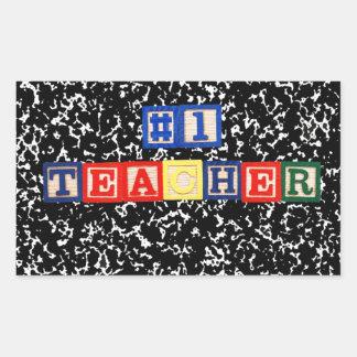 #1 Teacher Wooden Blocks Rectangular Sticker