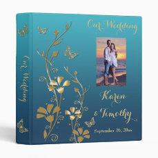 "1"" Teal, Gold Floral, Butterfly Wedding Binder"