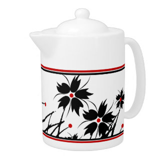 1 Teapot Floral Red Black White 2 DECOR SETS